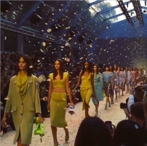 Still from Burberry's iPhone 5S slow motion video of their Spring/Summer 2014 runway show at London Fashion Week.