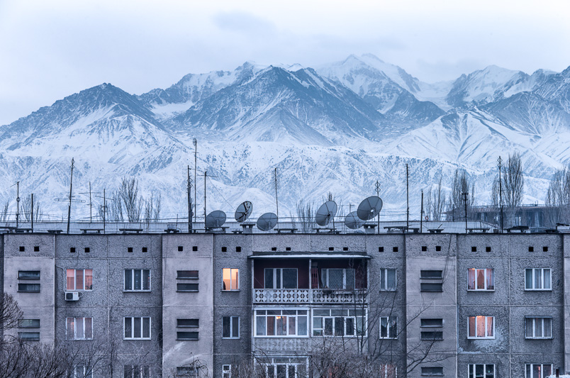 Bishkek apartments in front of Ala-Too mountain range