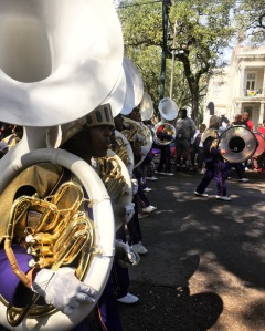 One of many high school marching bands in all of the Mardi Gras parades.